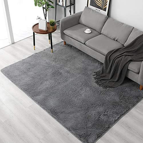 ARNTY Alfombra Salon Grande, Alfombras de Habitacion de Pelos Largo,Modernas Alfombra Pelo Adecuado para Salón Dormitorio (Gris, 120 * 160cm)