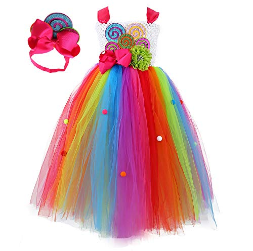 Tutu Dreams Halloween Costumes for Girls Rainbow Lollipop Candy Tutu Dress for Birthday Party Carnival Prom Ball Dance (rainbow, 11-12 Years)
