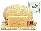 MIBIOO Jabón de Leche de Cabra 15% - Jabón orgánico para la cara y el cuerpo y un guante de lufa y una bolsa de sisal - Ideal para la piel sensible - Contra el acné, espinillas, eczema - Peso : 100g