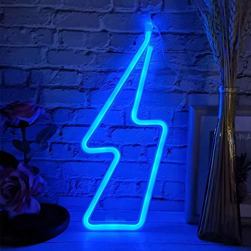 LED-Licht Amor Blitz-Form Entzückende Dekorative Wandbehang Lampe für Schlafzimmer Schlafsaal Party Hochzeit Weihnachten Halloween (Blitzblau)