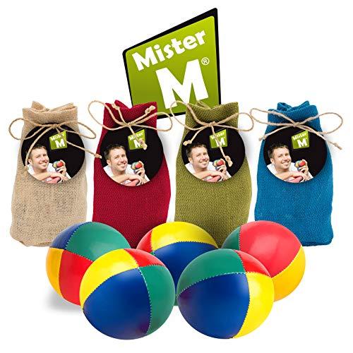 Mister M ✓ Jonglierbälle mit Naturfüllung 5 Stück ✓ mit online Lern online Video ✓ mit Jute Beutel ✓ Das Ultimative 3 Ball Jonglier Set