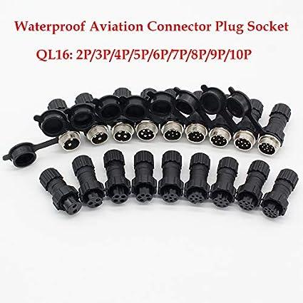 Powertool Lot de 5 connecteurs daviation /étanches pour /équipement m/échnique communication audio//vid/éo 2 broches automobile