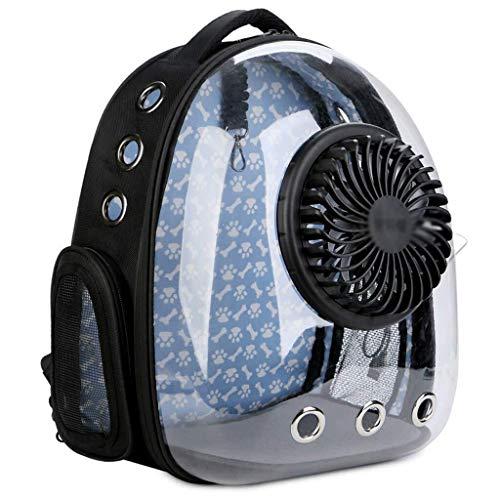 TOMSSL Belüftungsrucksack Mit Kleinem USB-Ventilator, Atmungsaktivem Netzfenster, Abnehmbare, Halbkugelförmige, Tragbare Hundetasche for Draußen, Schwarz