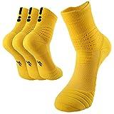 BeeViuc Calcetines baloncesto calcetines hombres de algodón engrosamiento deportivo Calcetines antideslizantes Transpirable para baloncesto - 3 Pares de Amarillo