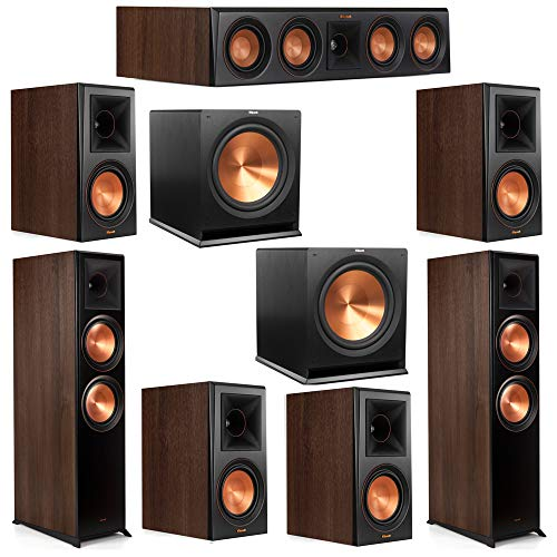 Find Bargain Klipsch 7.2 Walnut System 2 RP-8000F Floorstanding Speakers, 1 Klipsch RP-504C Center S...