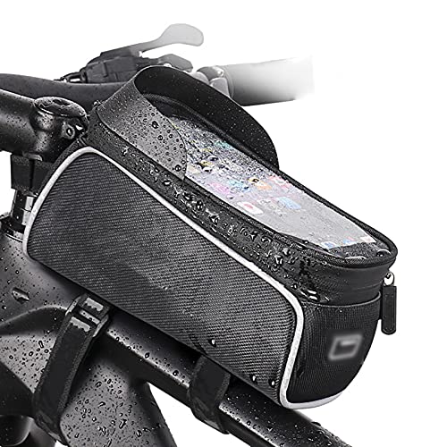 OEMC Bolsa de Bicicleta, Bolsa Cuadro Bicicleta Impermeable Bolsa de Tubo Superior Delantero Pantalla Táctil para Teléfono Inteligente por Debajo de 6,5 Pulgadas