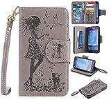 Nancen Compatible avec Samsung Galaxy J5 2015 / SM-J500F (5,0 Pouces) Coque, Fille et Oiseau Motif Flip Étui Housse Wallet Couleur Solide Case Accessoires de Téléphone