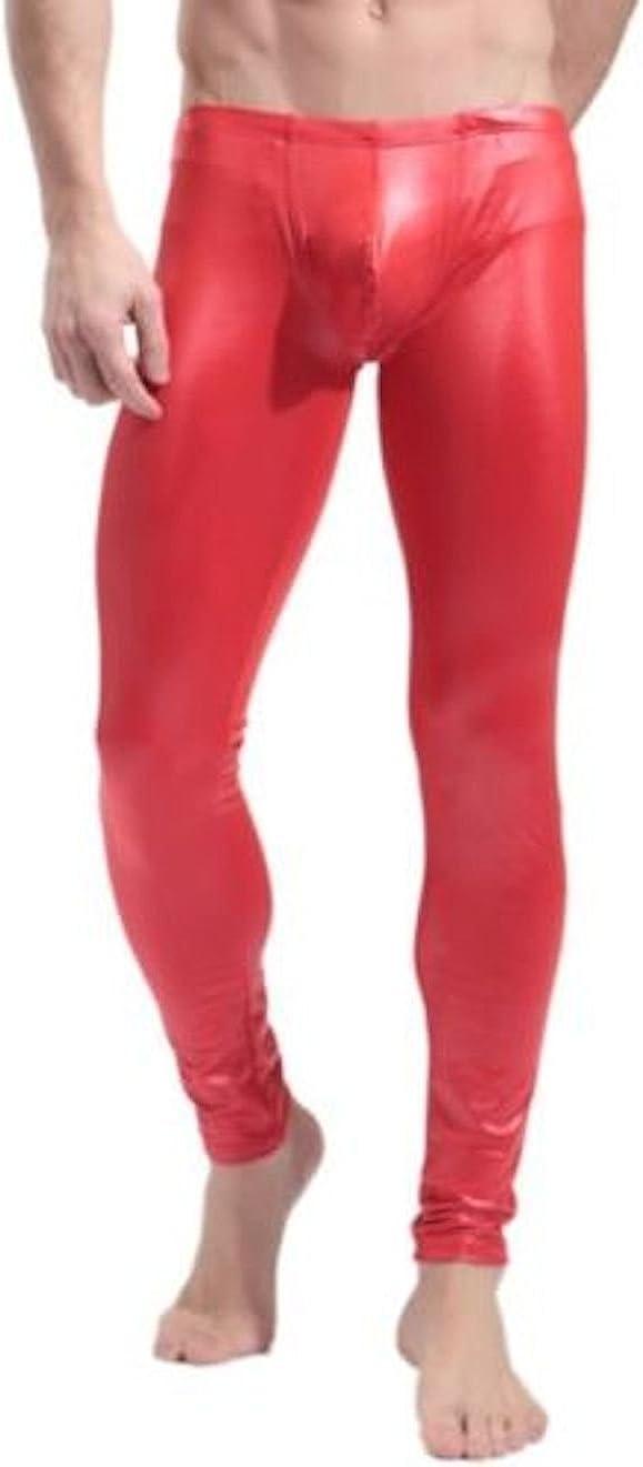 Mens Long John Shiny Faux Leather Club Dance Pants Skinny Muscle Tights