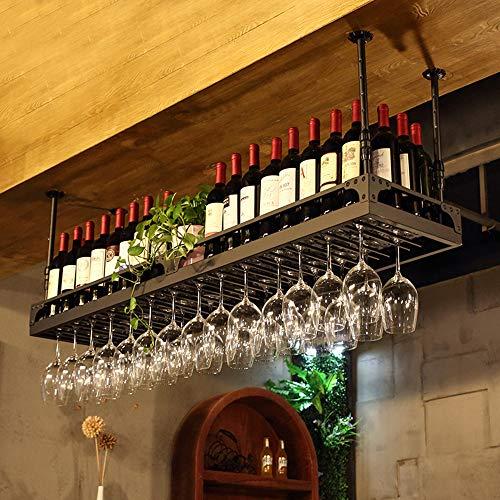 WY&WY Estante para Botellas De Vino Estante para Vino Montados En La Pared, Estantes Ajustables para Vino para Colgar En El Techo, para El Hogar, Bares, Hoteles, Restaurantes, Negro
