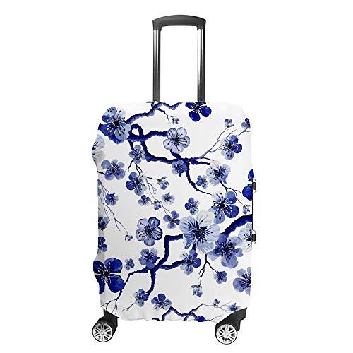 Gepäckabdeckung, verdickt, waschbar, blaue Kirschblüte, weiße Polyester-Fasern, elastisch, faltbar, leicht, Reisekoffer-Schutz