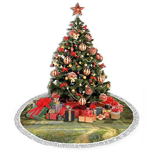 Kasonj Weihnachtsbaum-Rock, 121,9 cm, Thomas Kinkade Malerei Haus Wetterfahne Ein großer Baum-Baumteppich für Weihnachtsdekorationen Thema Festliche Feiertage
