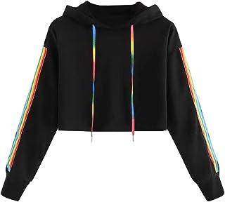 MAXIMGR Women's Long Sleeve Crop Top Hoodie Rainbow Printed Drawstring Pullover Sweatshirt