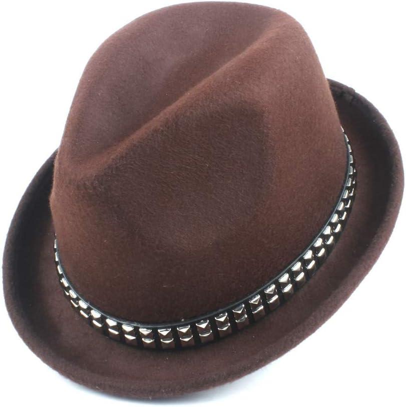 LHZUS Hats Autumn Winter Wool Felt Jazz Fedora Fashion Ladies Fedora Hat Panama Player Casual Hat Rivet Decoration Gentleman Cap (Color : Navy Coffee, Size : 56-58cm)
