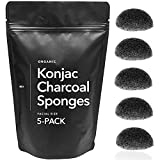 Minamul Konjac Exfoliating Organic Facial Sponge Set | Gentle daily face scrub/skincare | infused with best bamboo activated charcoal | Safe for Oily, Dry, Combination or Sensitive skin | 5 pack set