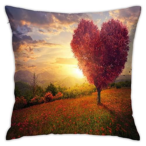 LOSNINA Fundas de Almohada, Árbol en Forma de corazón Rojo, Sofá temático Sofá Sala de Estar Interior Exterior Decoración del hogar (18 '* 18') 1 Pieza