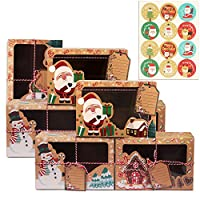 annhao 12 pezzi scatole regalo natale, con 12 pezzi adesivi natale, con finestra trasparente per caramelle biscotti cupcake scatole regalo di carta kraft, per regali di natale, regali fai da te, feste