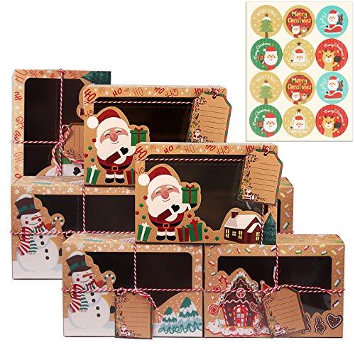 Annhao 12 Pezzi Scatole regalo Natale, con 12 Pezzi Adesivi Natale, con finestra trasparente per Caramelle Biscotti cupcake...