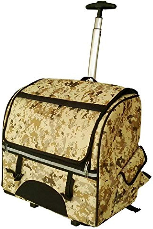 Closed Pet Trolley Dog Out Pet Trolley Bag Pet Backpack Detachable Drawbar (color   Camo color)