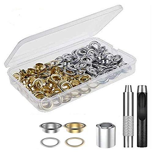 Juego de herramientas de metal para ajuste de ojales, 100 juegos de ojales de 1/2 pulgada con 3 herramientas de instalación para tienda de campaña, lona, tela, lona, cortina, ropa, cuero