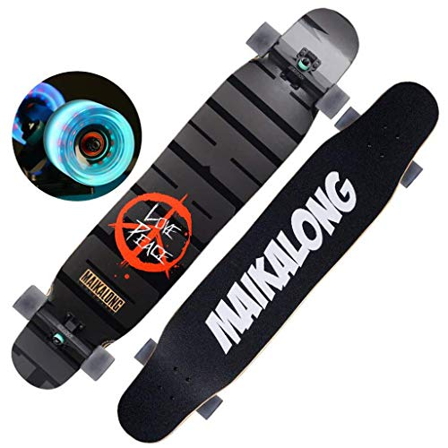 UYZ Complete Cruiser Longboard Skateboard 47x9 Inch 7 Layer Maple for Adults,Teens, and Kids Beginners
