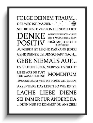 Kunstdruck DIN A4 Motivation Folge Deinem Traum 1 ohne Rahmen Design Schwarz Weiß Modern Wohnung Büro Haus Zuhause Gastgeschenk Lieblingsmensch