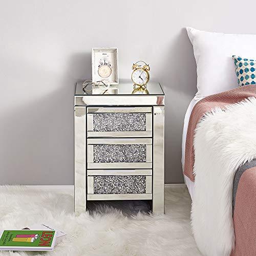 Panana Nachtschrank Glas Kommode MDF Nachttisch mit Kristallglas Nachtkommode Kommode Schrank - 3 Schubladen 42 x 32 x 60 cm für Schlafzimmer Wohnzimmer
