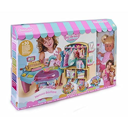 Nenuco - Boutique, Tienda de Moda para bebés con 30 Accesorios y Ropa para Cambiar el muñeco, una Caja registradora de Juguete con Sonido y luz, Dinero y Sonidos para Jugar Famosa (700015835)