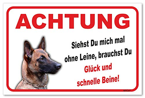 AdriLeo Schild - Vorsicht Malinois - Ohne Leine - (20x30cm) / Achtung Hund Wachhund