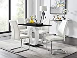 Furniturebox UK Giovani Black/White High Gloss Glass Dining Table Set and 4 Chairs Seats (4 White Chairs)