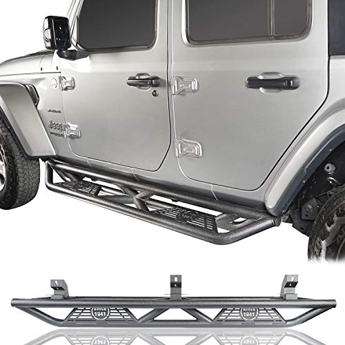 Hooke Road Jeep Wrangler JL Drop Side Steps Running Boards Nerf Bar Rock Rails for Jeep Wrangler JL 2018 2019 2020 2021 Unlimited 4 Doors