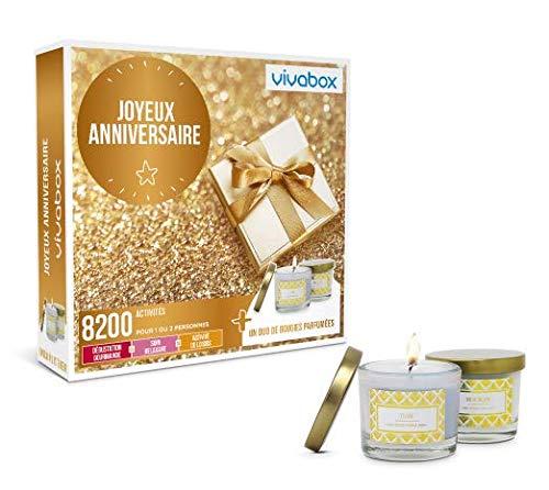 Vivabox - Coffret cadeau anniversaire - JOYEUX ANNIVERSAIRE ! - Plus de 8200 activités au choix + 2 bougies parfumées
