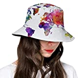 Watercolor Multicolored Hand Drawn World Map Asia Europe Africa America Geography Print Couple Hats Fashion Women's Men's Summer Bucket Hat Outdoor Sun UV Protection Casual Fishing Cap