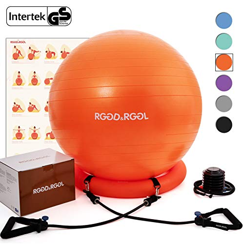 RGGD&RGGL Yoga Ball Chair, Exercise Ball with Leak-Proof Design, Stability Ring&2 Adjustable Resistance Bands for Any Fitness Level, 1.5 Times Thicker...