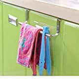 Zollyss Stainless Steel Towel Bar Holder Over The Kitchen Cabinet Cupboard Door Hanging Rack Storage Holders Accessories (Large)