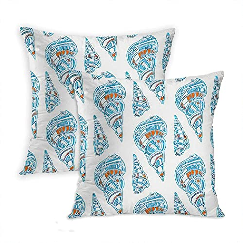 LINGF Funda de Almohada Conch Juego de 2 Fundas de Almohada con Estilo, Hermosas Conchas Marinas cónicas, Arte Lineal en Colores Azul Pastel, Funda de Almohada de 20 x 20 Pulgadas