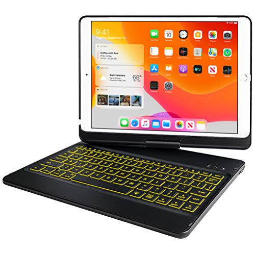 Keyboard Case 10.2 inch for iPad New 8th Generation 2020,iPad 7th Generation 2019,10 Color Backlit 360 Rotatable Wireless Detachable Bluetooth 5.0 Auto Sleep/Wake Cover Tablet Case (Black)