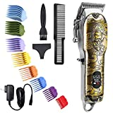 2021 Suttik New Professional Cordless Hair Clippers Set for Cutting Ornate Barber Mens Hair Trimmer Clipper Set Wireless Electric Beard Trimmer Kit with Led Display, Knight, Adjustable, Gold