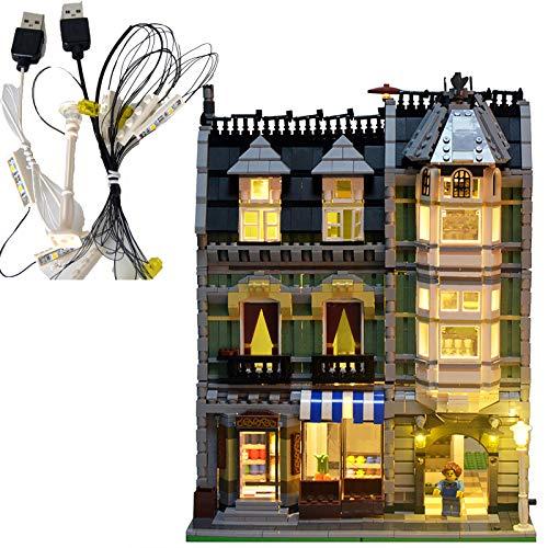 RHJK DIY Kit De Iluminación LED, para Lego Vista De La Calle 10185 Verde Tienda De Ultramarinos, Diversión Juguetes Bloques De Construcción Juego De Luces, Los Regalos De