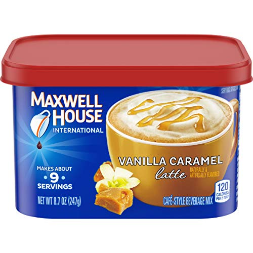Maxwell House International Vanilla Caramel Latte Cafe Style Beverage Mix, Caffeinated, 8.7 oz Can (Pack of 4)
