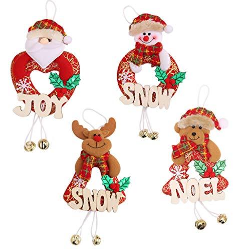 Kerstboom, klein, letters van hout, houten bord, hangende open haard, ramen, hangings, 4 stuks, kerstartikelen – 11.11