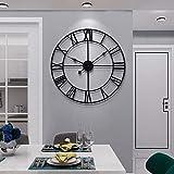 Clonic Reloj de pared redondo de metal de estilo vintage, silencioso, sin tictac, funciona con pilas, 40 cm, números romanos negros, para salón, dormitorio, decoración de cocina