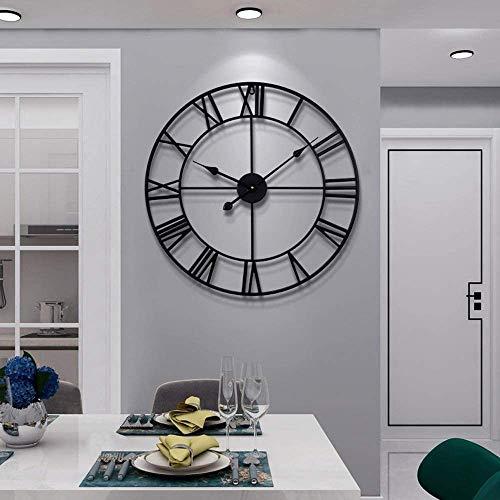 Clonic Große Wanduhr im Vintage-Stil, rund, Metall, geräuschlos, Nicht tickend, batteriebetrieben, 40 cm, Schwarze römische Ziffern, Uhren für Wohnzimmer, Schlafzimmer, Küchendekoration
