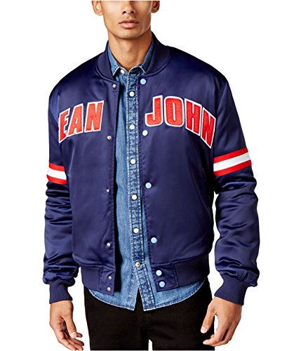 Sean John Mens Logo Bomber Jacket, Blue, Large