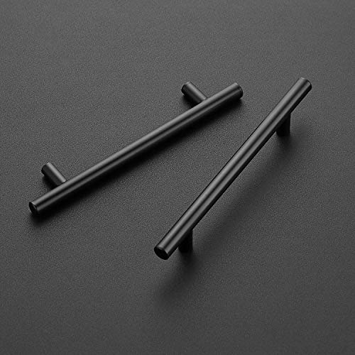 25 Pack 7.38'' Cabinet Pulls Matte Black Stainless Steel Kitchen Cupboard Handles Cabinet Handles 7.38'' Length, 5'' Hole Center