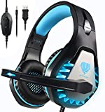 BUTFULAKE GH-1 Gaming Headset for PS4, Xbox One, Xbox One S, PC, Nintendo Switch, Mac, Laptop, Computer, 3.5mm Wired Pro Stereo Over Ear Gaming Headphones with Noise Cancelling Mic, LED Light, Blue