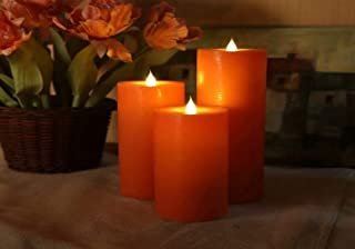 LED Electric Flameless Orange Candle Yellow Bright Bulb Moving Wick with 4 Or 8 Hours Timer Battery Operated Artificial Si...