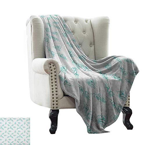 LsWOW - Manta Estampada en Color Turquesa, diseño de capullos y pétalos, Varios tamaños, diseño de Flores, Primavera, Moderno, para otoño e Invierno