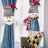 XCSW Hebilla para Cortina de Navidad 2 Piezas Hebilla de Cortina de Navidad diseño de Papá Noel muñe...