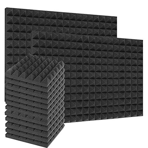 24 Pack Acoustic Foam Panels 2 Inches Thick Sound Proof Padding for Wall Pyramid, 2' X 12' X 12' Sound Absorbing Dampening Studio Foam Soundproofing Foam Wedge Tiles
