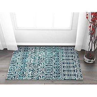 Signora Blue Vintage Floral Tile Design Short Pile Kilim-Style Modern 2x3 (2' x 3') Area Rug Multicolor Pattern